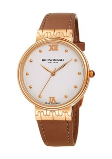 Bruno Magli 36mm Isabella Leather Watch  Brown/Rose