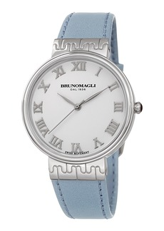 Bruno Magli 36mm Isabella Leather Watch  Baby Blue/Silver
