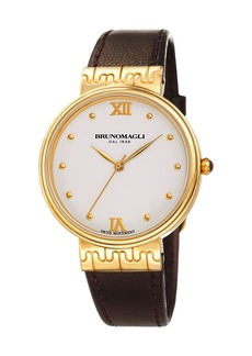 Bruno Magli 36mm Isabella Leather Watch  Brown/Gold