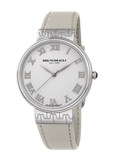 Bruno Magli 36mm Isabella Leather Watch  White/Silver