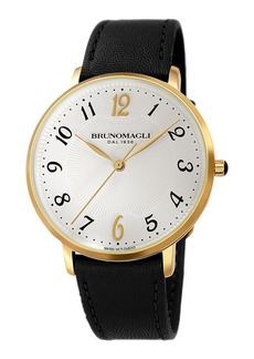 Bruno Magli 36mm Roma 1221 Leather Watch  Black/Gold