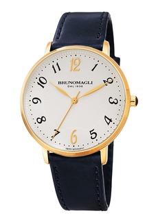 Bruno Magli 36mm Roma 1221 Leather Watch  Dark Blue/Gold