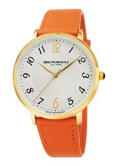 Bruno Magli 36mm Roma 1221 Leather Watch  Orange/Gold
