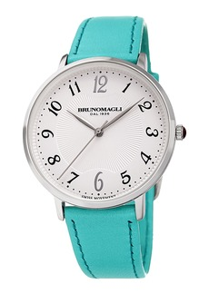Bruno Magli 36mm Roma 1221 Leather Watch  Turquoise/Steel