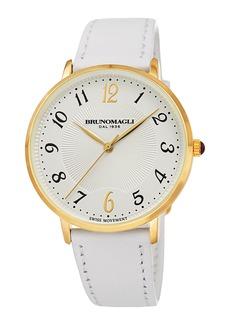 Bruno Magli 36mm Roma 1221 Leather Watch  White/Gold