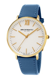 Bruno Magli 36mm Roma Classic Leather Watch  Blue/Gold