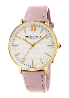 Bruno Magli 36mm Roma Classic Leather Watch  Pink/Gold