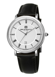Bruno Magli 41mm Milano Date Watch w/ Leather  Black/Steel