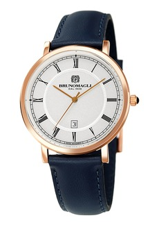 Bruno Magli 41mm Milano Date Watch w/ Leather  Blue/Rose