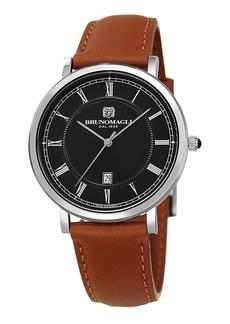 Bruno Magli 41mm Milano Date Watch w/ Leather  Brown/Black