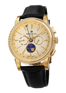 Bruno Magli 43mm Limited Edition Moonphase Watch  Black/Gold