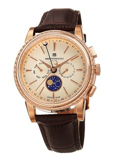 Bruno Magli 43mm Limited Edition Moonphase Watch  Brown/Rose Gold