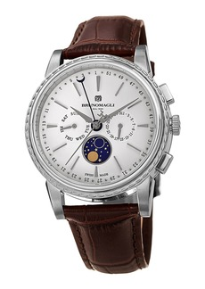 Bruno Magli 43mm Limited Edition Moonphase Watch  Brown/Steel