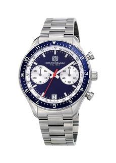 Bruno Magli 43mm Marco 1081 Chronograph Watch  Blue/Steel