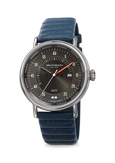 Bruno Magli Alex 1361 Stainless Steel & Leather-Strap Analog Watch