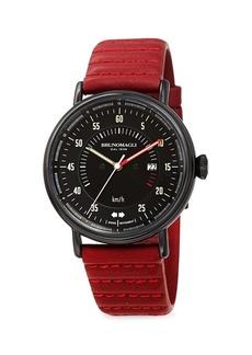 Bruno Magli Alex 1361 Stainless Steel & Leather Strap Watch