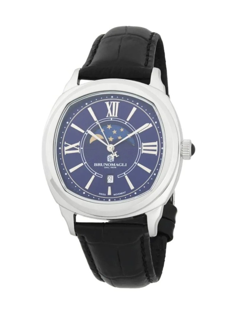 Bruno Magli Analog Moonphase Stainless Steel Leather Strap Watch