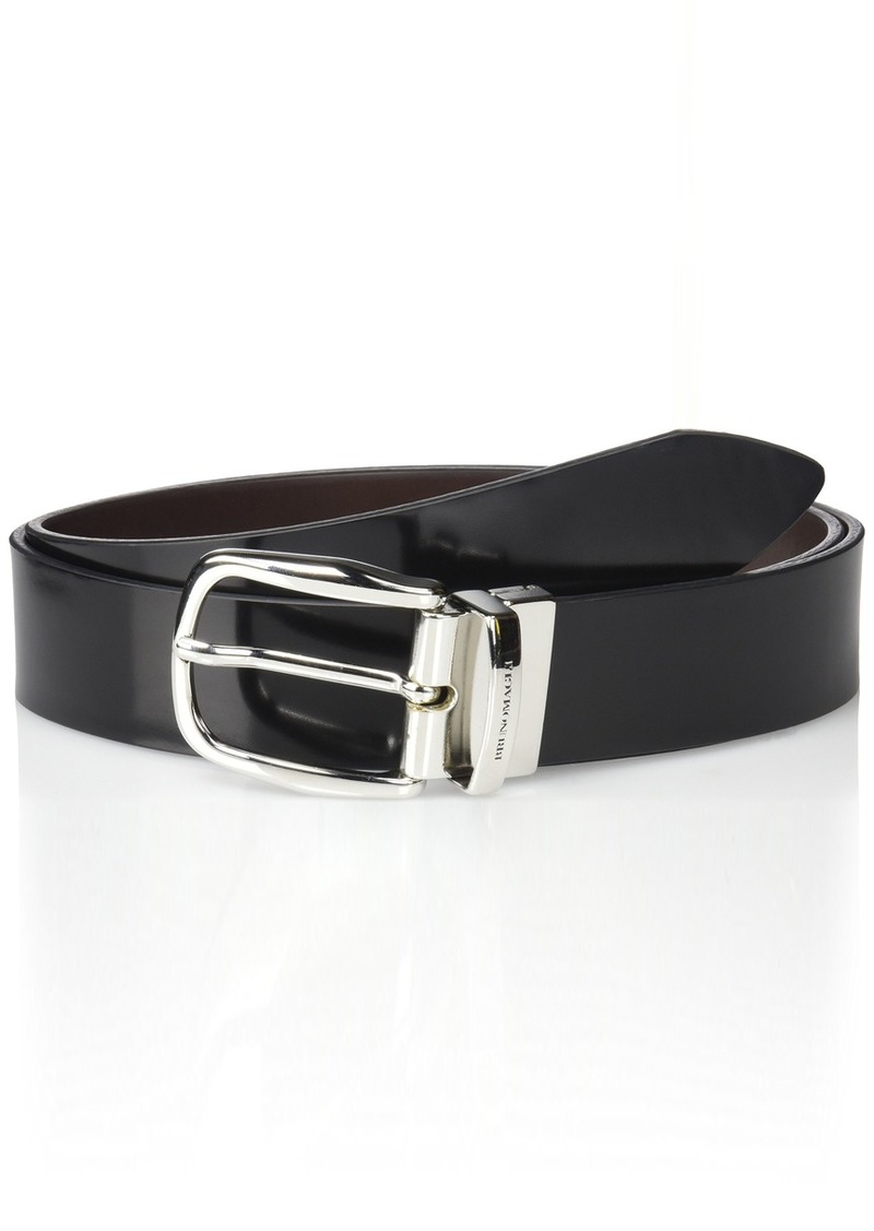 Bruno Magli Italian Leather Reversible Belt with Rounded Buckle black/Brown