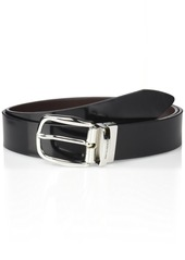 Bruno Magli Men's Italian Leather Reversible Belt with Rounded Buckle black/Brown
