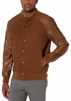 Bruno Magli Men's Silky Suede Varsity Jacket with Contrast Sleeves mid Brown L