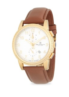 Bruno Magli Round Chronograph Leather-Strap Watch