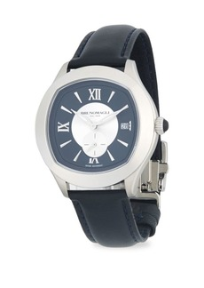 Bruno Magli Stainless Steel & Embossed Leather Strap Watch