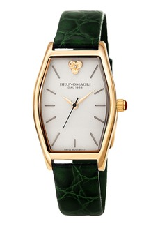 Bruno Magli Chiara Oval Watch w/ Croco Strap  Green/Gold