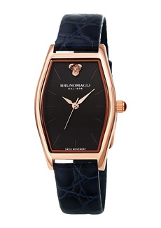 Bruno Magli Chiara Oval Watch w/ Croco Strap  Navy/Rose