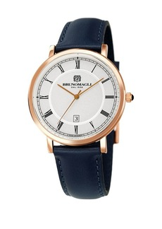 Bruno Magli Classic Stainless Steel & Leather-Strap Watch