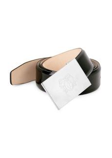 Bruno Magli Crest Engraved Patent Leather Belt