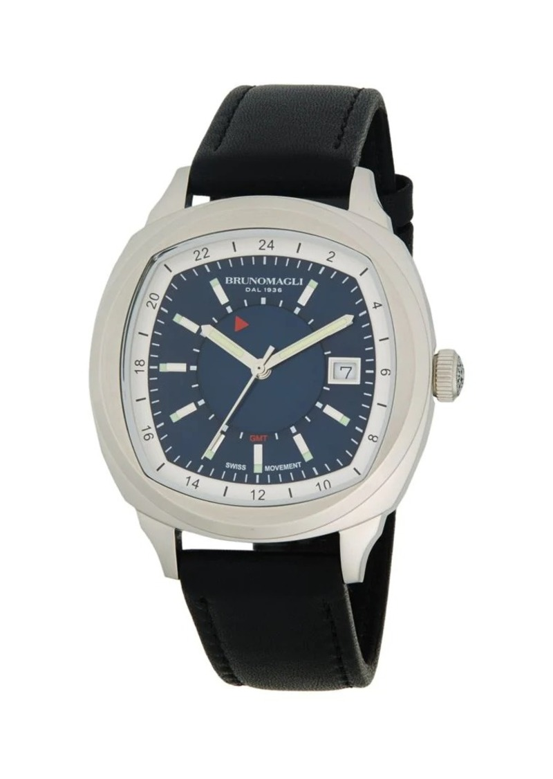 Bruno Magli Cushion-Shaped Stainless Steel & Leather-Strap Watch