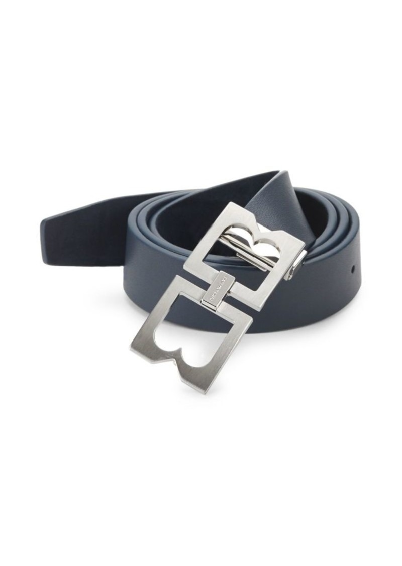 Bruno Magli Double-Buckle Leather Belt