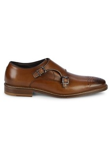 Bruno Magli Jack Brogue Double Monk-Strap Leather Shoes