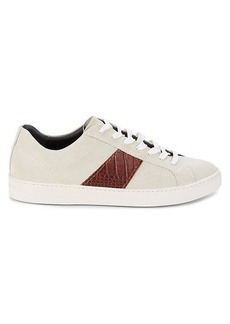 Bruno Magli Justice Suede & Croc-Embossed Leather Sneakers