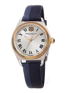 Bruno Magli Lucia 31mm Watch w/ Fluted Bezel & Leather Strap  Medium Blue