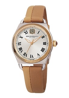 Bruno Magli Lucia 31mm Watch w/ Fluted Bezel & Leather Strap  Nude