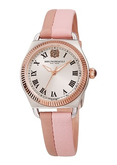 Bruno Magli Lucia 31mm Watch w/ Fluted Bezel & Leather Strap  Pink/Mauve