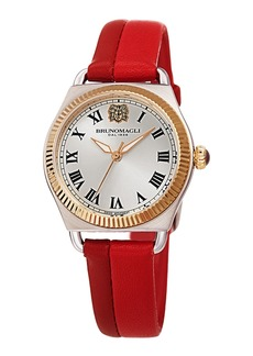 Bruno Magli Lucia 31mm Watch w/ Fluted Bezel & Leather Strap  Two-Tone Red