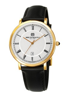 Bruno Magli Men's 41mm Milano Date Watch w/ Leather  Black/Gold