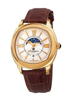 Bruno Magli Men's 42mm Moonphase Watch  Crocodile/Gold