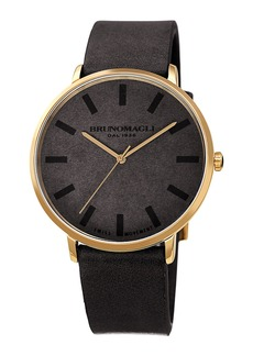 Bruno Magli Men's 42mm Roma Minimalist Watch w/ Leather Dial  Black/Gold