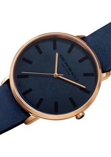 Bruno Magli Men's 42mm Roma Minimalist Watch w/ Leather Dial  Blue/Rose