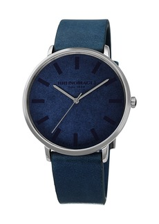 Bruno Magli Men's 42mm Roma Minimalist Watch w/ Leather Dial  Blue/Steel