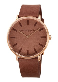 Bruno Magli Men's 42mm Roma Minimalist Watch w/ Leather Dial  Brown/Rose