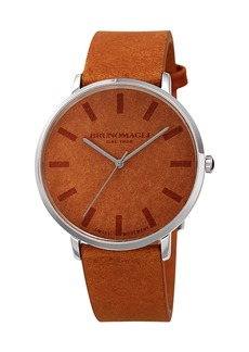 Bruno Magli Men's 42mm Roma Minimalist Watch w/ Leather Dial  Tan/Steel
