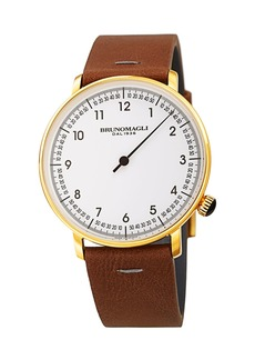 Bruno Magli Men's 43mm Roma Fiero Watch w/ Italian Leather Strap  Brown