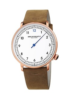 Bruno Magli Men's 43mm Roma Fiero Watch w/ Italian Leather Strap  Camel Brown
