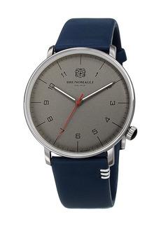 Bruno Magli Men's 43mm Roma Moderna Watch w/ Italian Leather Strap  Blue