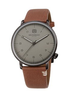 Bruno Magli Men's 43mm Roma Moderna Watch w/ Italian Leather Strap  Brown