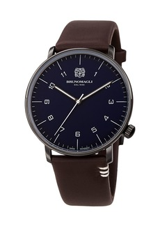 Bruno Magli Men's 43mm Roma Moderna Watch w/ Italian Leather Strap  Dark Brown